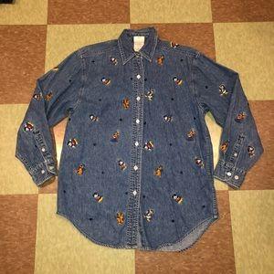 Vtg Disney Mickey goofy embroidered chambray shirt
